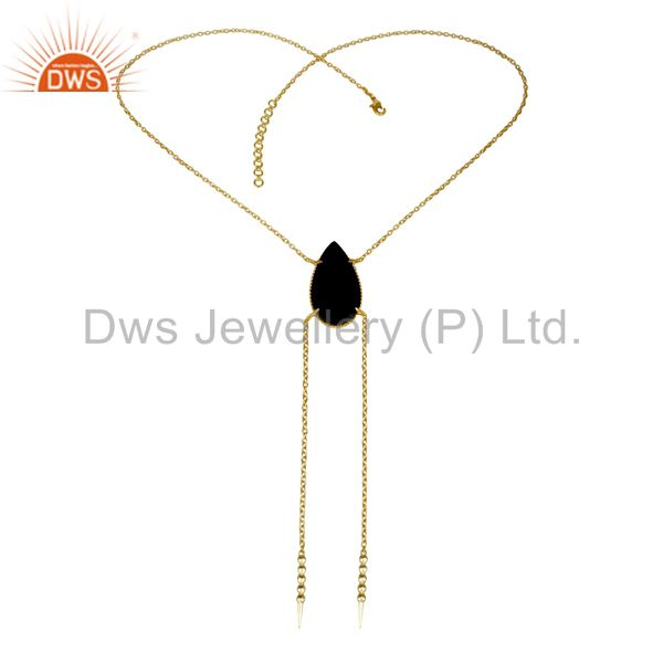 Exporter 14K Gold Plated Handmade Pear Cut Natural Black Onyx Chain Link Necklace
