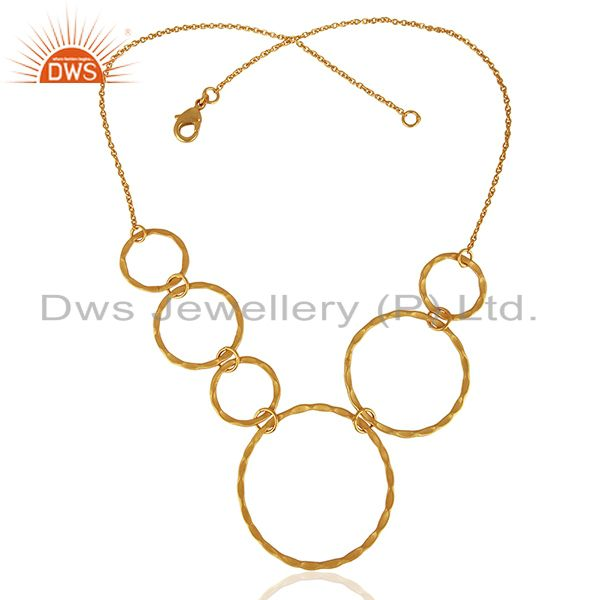 Exporter Handmade Gold Plated Brass Womens Fashion Necklace Jewelry Wholesale