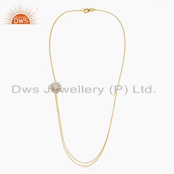 Exporter 14k Gold Plated Brass Floral Design Moonstone 18inch Chain Necklace Wholesale