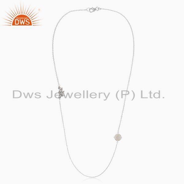 Exporter Fine Silver Plated Brass Rainbow Moonstone Chain Necklace Manufacturers