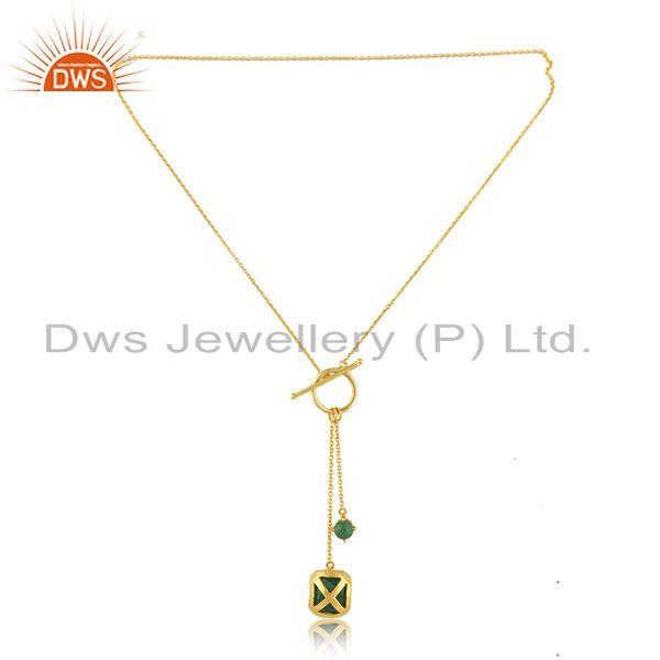 Exporter Green Onyx Gemstone Yellow Gold Plated Brass Fashion Chain Pendant Suppliers