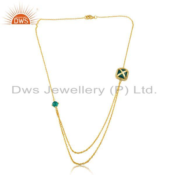 Exporter Handmade Brass Yellow Gold Plated Green Gemstone Chain Necklace Wholesale