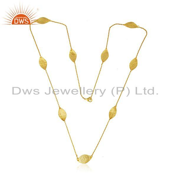 Exporter New Yellow Plated Designer Brass Fashion Chain Necklace Jewelry Supplier