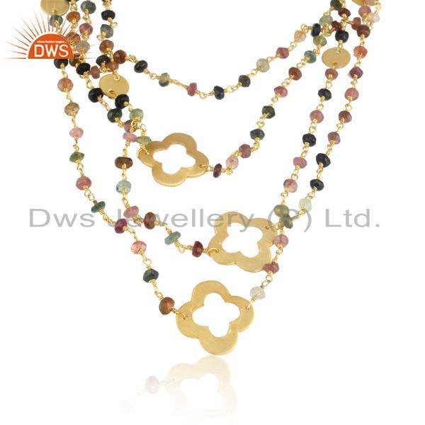 Statement multitourmaline fashion gold on multilayered necklace
