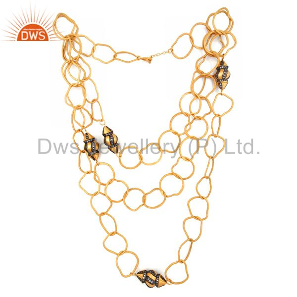 Exporter 22K Yellow Gold Plated Brass CZ Hammered Multi Layered Chain Fashion Necklace