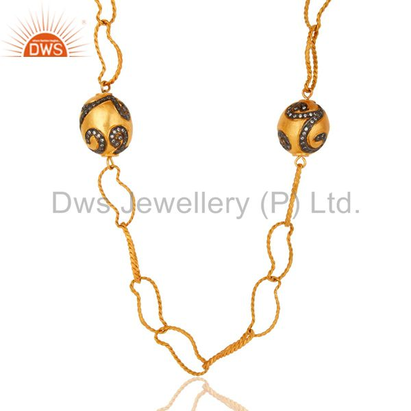 Exporter 22K Gold Plated Brass Twisted Wire Link Chain Necklace With CZ Spheres