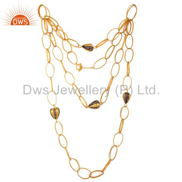 Exporter 22K Yellow Gold Plated Brass Cubic Zirconia Multi Layered Chain Fashion Necklace