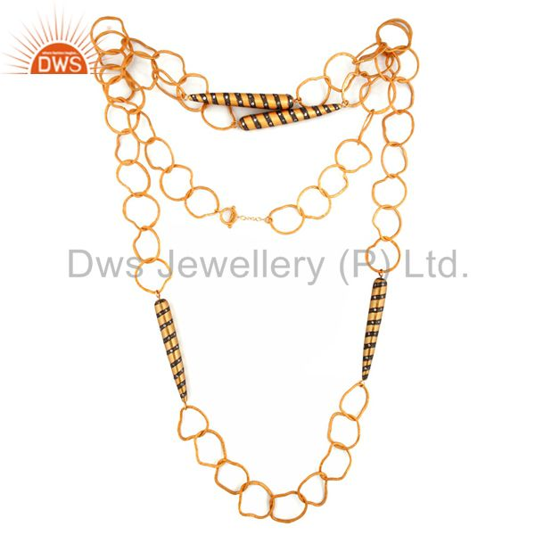 Exporter Handmade Hammered 22K Gold Plated Link Chain Necklace With CZ Bullet Charm