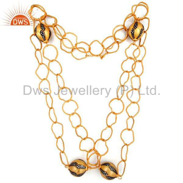 Exporter Hand Hammered chain 18K Gold Plated Link Necklaces With White Zircon Finding