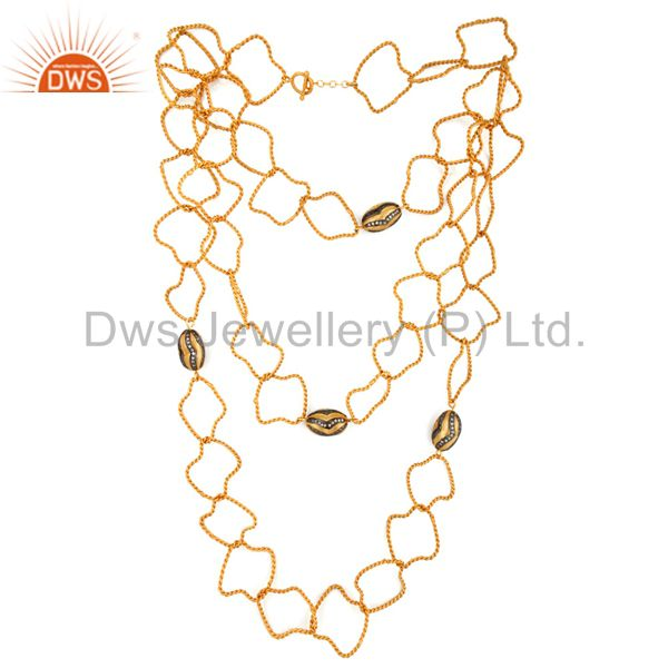 Exporter Handmade 22K Yellow Gold Plated Double Twisted Link Chain CZ Findings Necklace