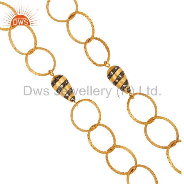 Exporter Designer 24K Yellow Gold Plated Brass link Chain Fashion Necklace With CZ