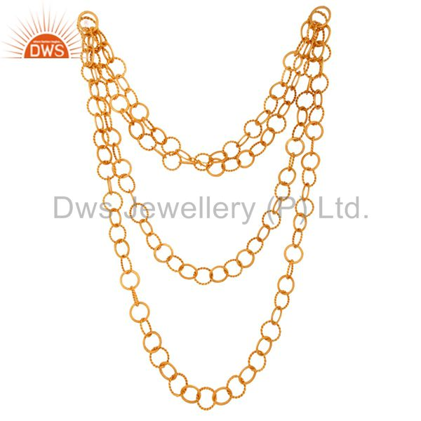 Exporter 22K Yellow Gold Plated Handmade Twisted Wire Circle Link Chain Necklace 50