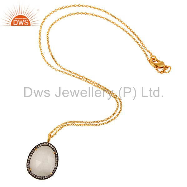 Exporter Cubic Zirconia And Moonstone Prong Set Pendant Necklace With 24K Gold Plated