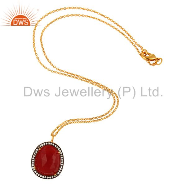 Exporter Faceted Red Aventurine Pendant With CZ Made In 24K Gold Over Brass