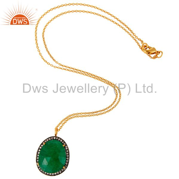 Exporter 22K Yellow Gold Plated Green Aventurine and Cubic Zirconia Pendant With Chain