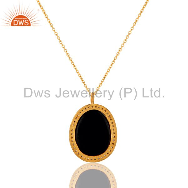 Exporter 22K Yellow Gold Plated Black Onyx and Cubic Zirconia Pendant With Chain