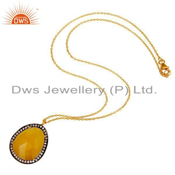 Exporter 22K Gold Plated Sterling Silver Yellow Moonstone & White Zirconia Chain Pendant