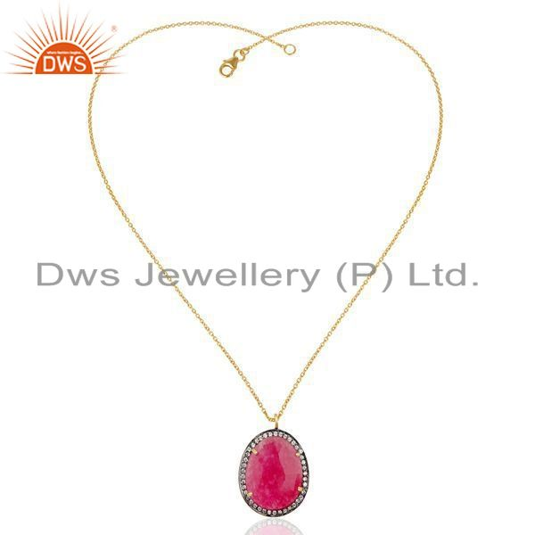 Exporter 22K Gold Plated Sterling Silver Red Aventurine & White Zirconia Chain Pendant