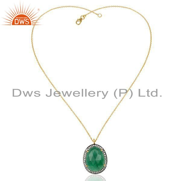 Exporter 14K Gold Plated 925 Sterling Silver Green Aventurine White Zircon Chain Pendant