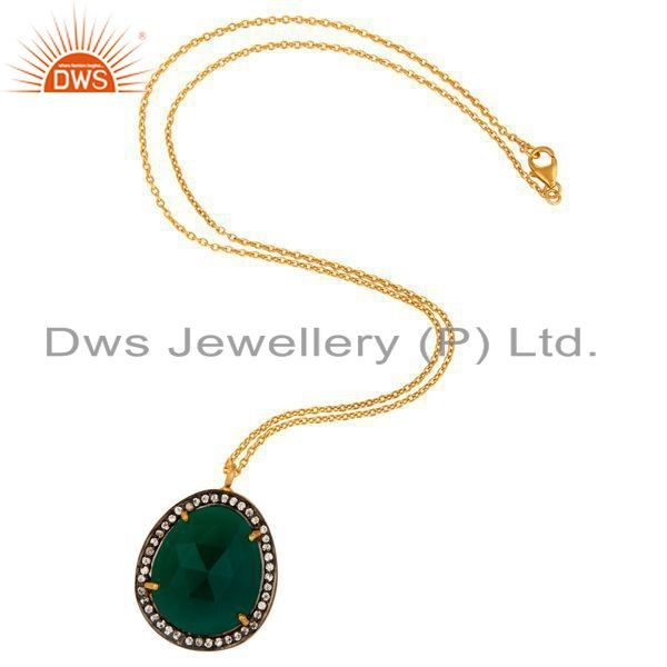 Exporter Faceted Green Onyx Gemstone Pendant - Gold Plated Sterling Silver CZ Jewelry