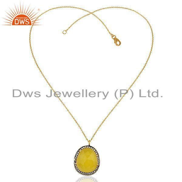 Exporter Yellow Chalcedony Gemstone CZ Gold Plated 925 Silver Chain Pendant