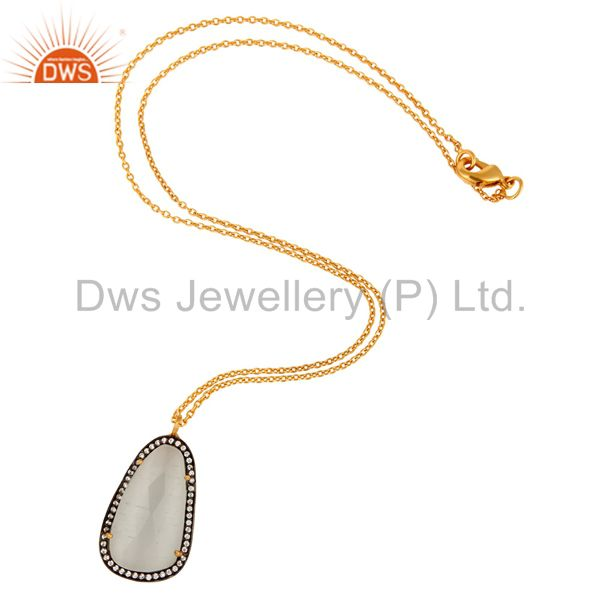 Exporter 18K Yellow Gold Plated White Moonstone And CZ Fashion Pendant With Chain