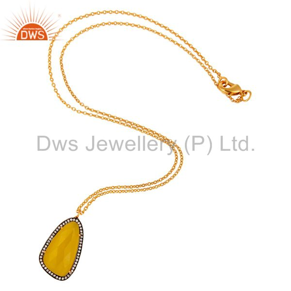 Exporter 18k Yellow Gold Plated Brass Fashion Pendant With Yellow Moonstone & CZ