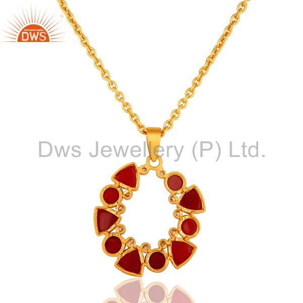 Exporter Handmade Red Aventurine And CZ Gold Plated Pendant With 16