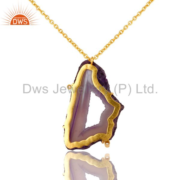 Exporter Purple Druzy Agate Yellow Gold Plated Pendant Chain Necklace With Lobster Lock