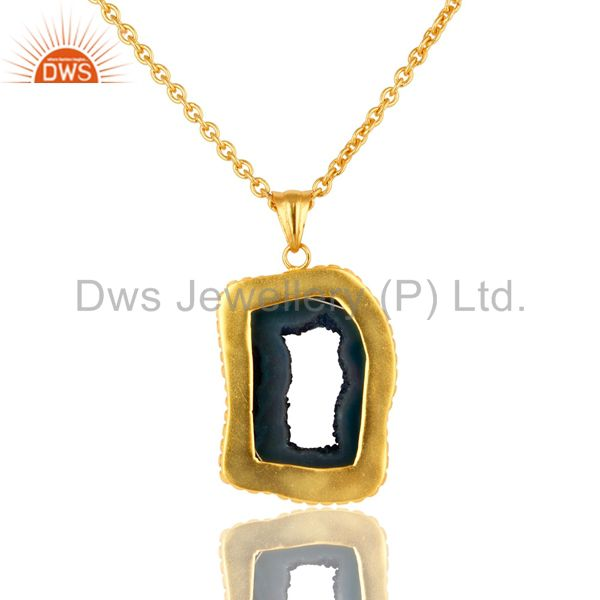 Exporter Handmade Blue Agate Druzy Slice Yellow Gold Plated Pendant With Chain