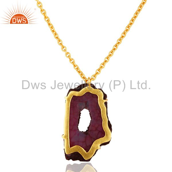 Exporter 18K Yellow Gold Plated Natural Purple Druzy Agate Prong Set Pendant With Chain