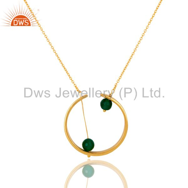 Exporter 18K Gold Plated Traditional Handmade Green Onyx Faceted Chain Brass Pendant