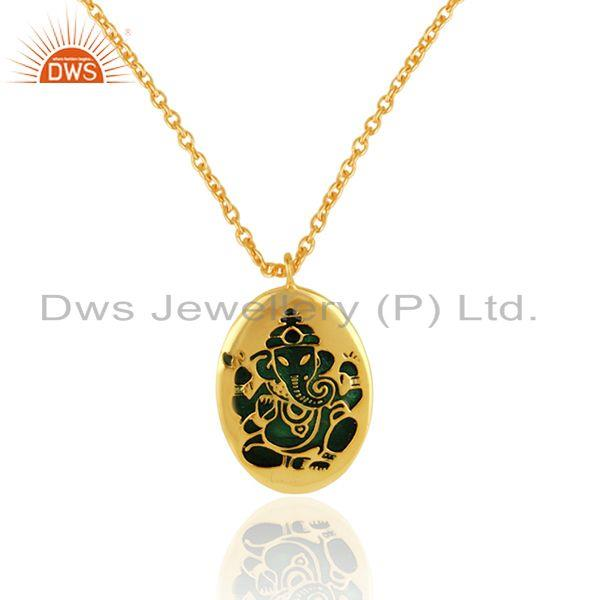 Holy ganesha necklace in yellow gold on silver and peacock enamel