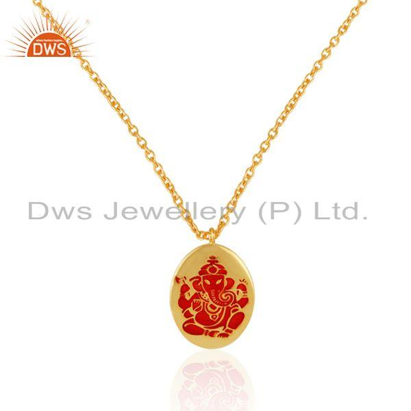 Holy ganesha necklace in yellow gold on silver 925 and red enamel