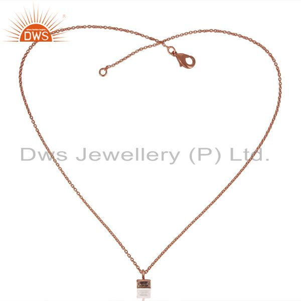 Exporter White Zircon Baguette Rose Gold Plated Brass Jewellery Chain Pendant Necklace
