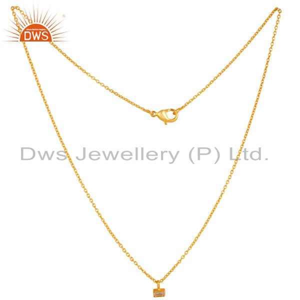 Exporter 18K Gold Plated Traditional White Zirconia Design Brass Chain Pendant Necklace