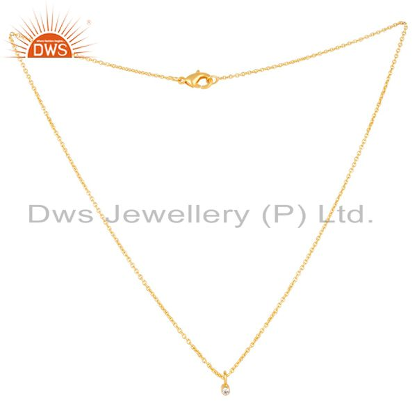 Exporter 14K Gold Plated Traditional White Zirconia Design Brass Chain Pendant Necklace