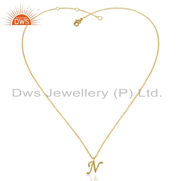Exporter Gold Plated N Initial Simple Chain Wholesale Fashion Pendent Jewelry