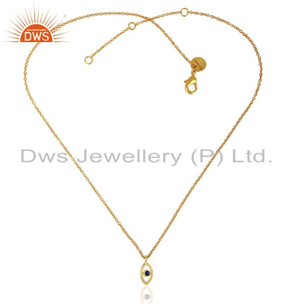 Exporter Handmade Gold Plated Lapis Gemstone Fashion Pendnat Supplier