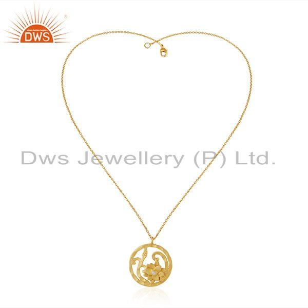 Exporter White Zircon Yellow Gold Plated Brass Fashion Floral Design Pendant With Chain