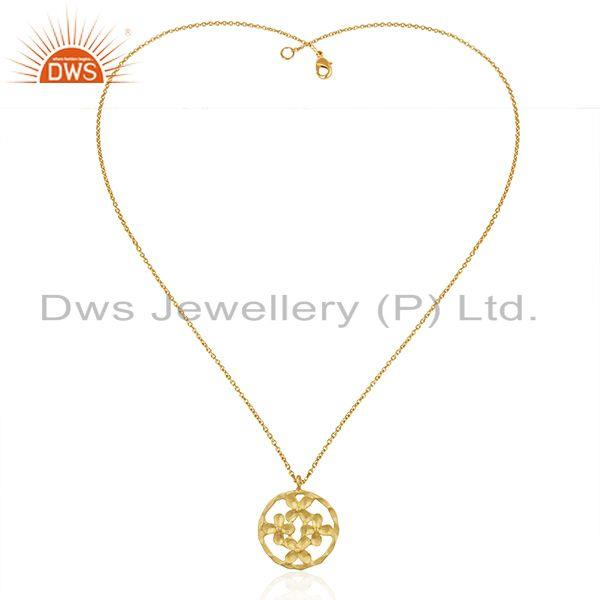 Exporter Indian Floral Brass Fashion Chain Pendant Jewelry Supplier