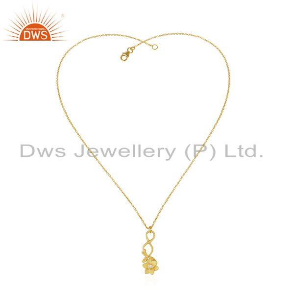 Exporter Yellow Gold Plated Flower Brass Fashion White Zircon Chain Pendant Wholesale