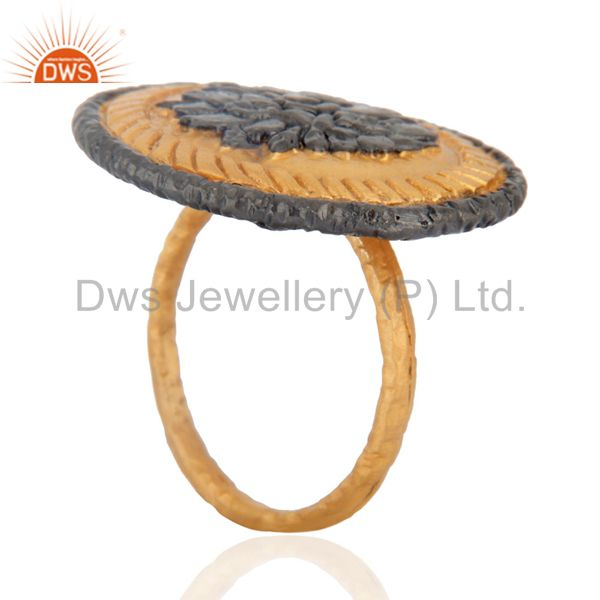Exporter Beautiful Solid Indian Fine Hand Hammered 18k Yellow Gold Plated Antique Ring