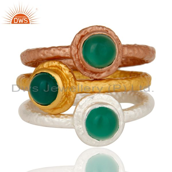 Exporter 18K Gold Plated Brass Green Onyx Gemstone 3 Piece Stackable Ring Set