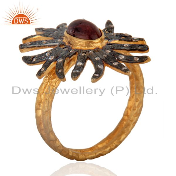 Exporter 18K Gold Plated Natural Tourmaline Gemstone Antique Victorian Look Fashion Ring