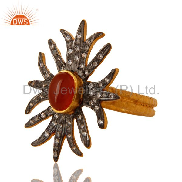 Exporter 18K Yellow Gold Plated Red Onyx And White Zircon Antique Style Ring