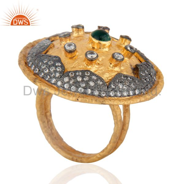 Exporter 18k Gold Plated Green Onyx Gemstone Vintage Cocktail Rings With Cubic Zirconia