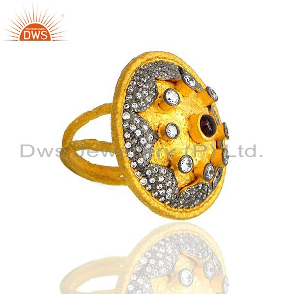 Exporter 22K Yellow Gold Plated Brass Pink Glass And Cubic Zirconia Antique Cocktail Ring