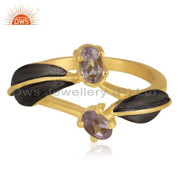 Exporter Indian Handmade 18k Yellow Gold Plated Over Brass Natural Gemstone Amethyst Ring