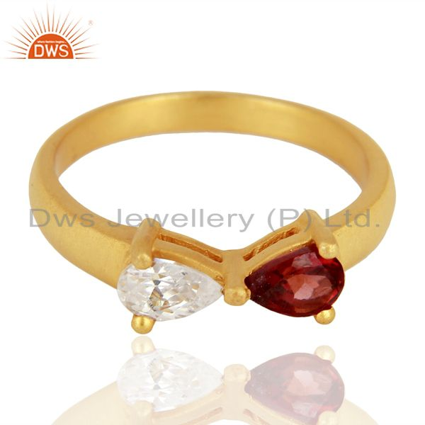 Exporter 22K Yellow Gold Plated Brass Natural Garnet And Cubic Zirconia Fashion Ring